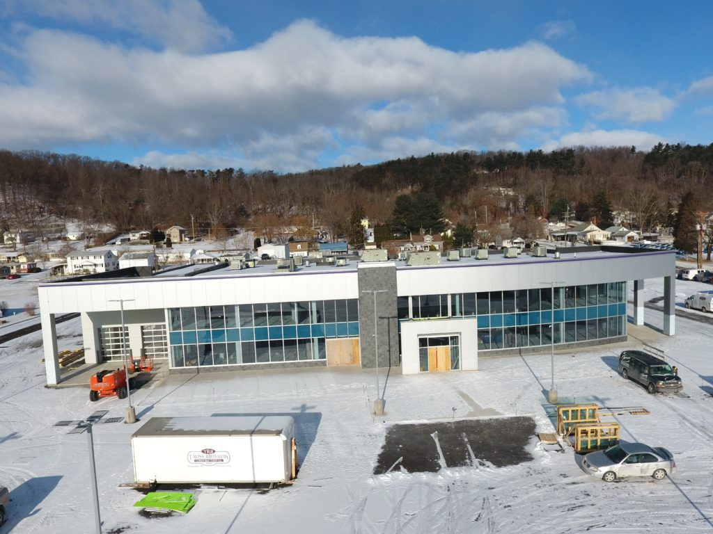 Aerial progress photos of the new W & L Subaru dealership