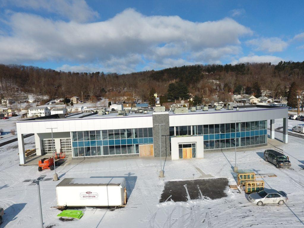 Aerial progress photos of the new W & L Subaru dealership